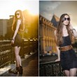 Fashion model on the street with sunglasses and short black dress.Fashionable girl with long legs posing on street.High fashion urban portrait of young, slim, beautiful model — 图库照片