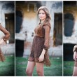 Pretty young woman posing in front of the farm. Very attractive blonde girl with brown short dress. Romantic young woman posing outdoor in the field. Fashionable young model in front of a brick wall — Stock Photo #35809611