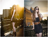 Fashion model on the street with sunglasses and short black dress.Fashionable girl with long legs posing on street.High fashion urban portrait of young, slim, beautiful model — Stock Photo