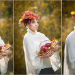 Beautiful creative makeup and hair style in outdoor shoot. Beauty Fashion Model Girl with Autumnal Make up and Hair. Fall. Beautiful fashionable girl with leaves in hair holding a basket with apples. — Foto de Stock