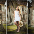 Beautiful portrait girl with hat near a tree in the garden. fairy princess in white dress in the garden. portrait of rural beautiful girl with long hair and short white dress — Stock Photo