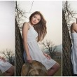 Beautiful girl portrait with hat near a tree in the garden. Young Caucasian sensual woman in a romantic scenery. Girt in white short dress outdoor. fairy princess in white dress in the garden — Стоковая фотография