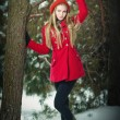 Attractive blonde girl with gloves, red coat and red hat posing in winter snow. Beautiful woman in the winter scenery. Young woman in wintertime outdoor — Zdjęcie stockowe