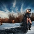 Lovely young lady posing dramatically with long black veil in winter scenery. Blonde woman with cloudy sky in background - outdoor shoot. Glamorous female in nature - gothic style — Foto Stock