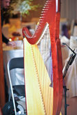 Classic harp in restaurant. Part of musical instrument called harp with restaurant tables in background — Stock Photo
