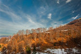 Majestic sunset in the mountains landscape. Sunset landscape in Carpathian mountains. Dawn in mountains Carpathians, Romania. Mountains covered with snow — Stock Photo