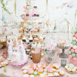 Wedding decoration with pastel colored cupcakes, meringues, muffins and macarons. Elegant and luxurious event arrangement with colorful macaroons. Wedding dessert with macaroons — Stock Photo #50537809