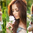 Young beautiful red hair woman holding a wild flowers bouquet in a sunny day. Portrait of attractive long hair female with flowers in hair, outdoor shot. Pretty girl enjoying the nature in summer — Stock Photo #51121653
