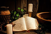 Bible on church altar — Stock Photo