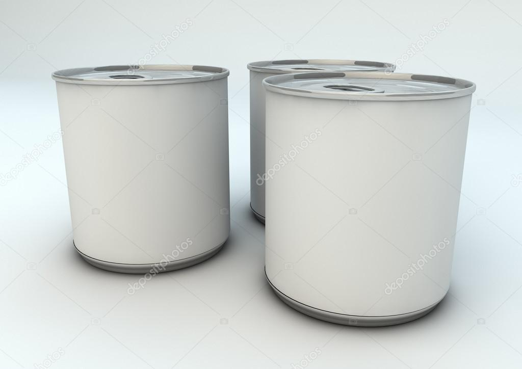 Render of three empty cans — Stock Photo #16828243