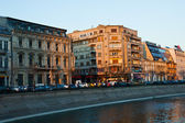 Bucharest river scene at dusk — Stock Photo