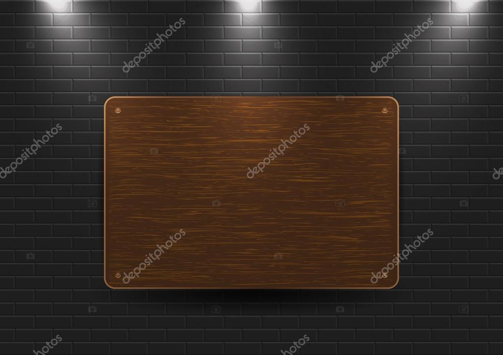 Wooden sign on the wall — Stock Vector #12148548