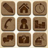 Wooden business icons set — Stock Vector