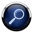 Abstract blue honeycomb Magnifying glass icon — Stock Vector