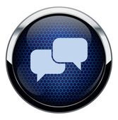 Abstract blue honeycomb talk icon — Stock Vector