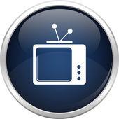 ícone de tv antigo azul — Vetor de Stock