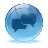 3d abstracto azul hablar icono — Vector de stock