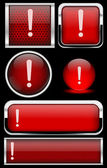 Red warning icon set — Stock Vector