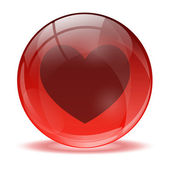3D glass sphere and heart icon — Stock Vector