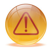 3D glass sphere and warning icon — Stock Vector