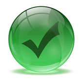 3D glass sphere and green okay icon — Stock Vector