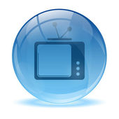 3D glass sphere and tv icon — Stock Vector