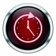 Red honeycomb clock icon — Stock Vector