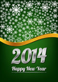 Green happy new year card — Vector de stock