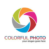 Creative photo lens logo work — Stock Vector