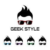 Geek style logo template — Stock Vector