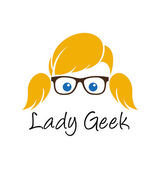 Lady geek logo template — Stock Vector