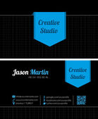 Black creative business card — Vector de stock