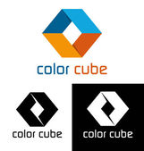 Color cube logo template — Stock Vector