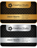Golden - silver honeycomb business card — Stock Vector