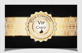 Black creative vip card. Decorated with metallic texture. — Stock Vector