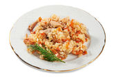 Pilaf of rice and chicken on plate isolated — Stock Photo