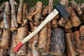 Ax on wood — Stock Photo