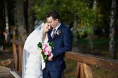 Bride and groom on wedding walk — Stock Photo