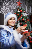 Young woman with Christmas costume Snow-Maiden — Stock Photo