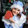 Happy Christmas Snow-Maiden show gift — Stock Photo
