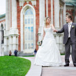Bride and groom at a wedding a walk — Stock Photo