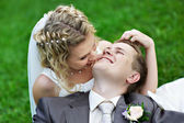 Bride and groom at the wedding walk — Stock Photo