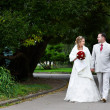 Royalty-Free Stock Photo: Bride and groom on wedding walk