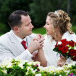 Bride and groom at wedding walk — Stock Photo