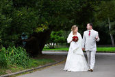 Bride and groom on wedding walk — Stock Photo