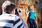 Romantic photo shoot with woman — Stock Photo