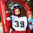 Baby cup champion skier — Stock Photo