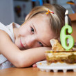 Girl in her birthday with cak — Stock Photo