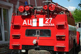 Rear view of a fire truck — Стоковое фото