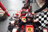 Competition for children karting — Stock Photo